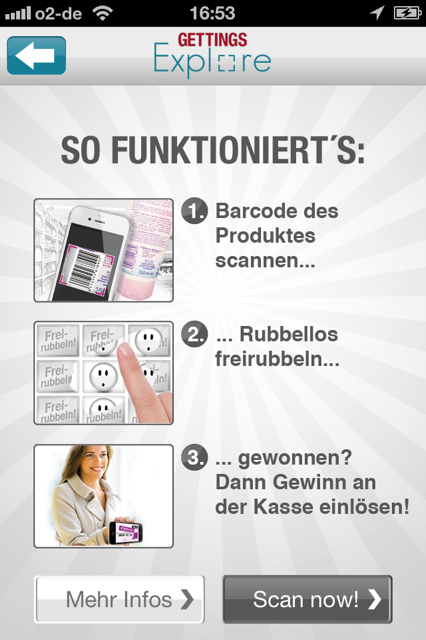 Screenshot aus der App GETTINGS